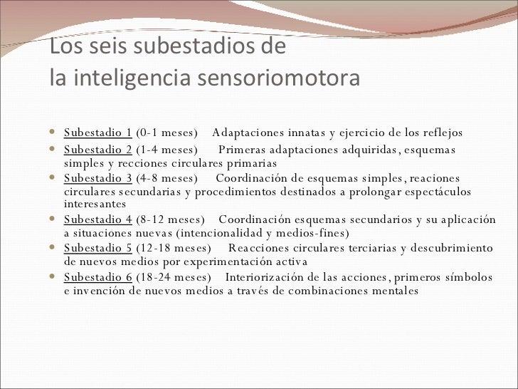 Los seis subestadios de  la inteligencia sensoriomotora <ul><li>Subestadio 1  (0-1 meses)    Adaptaciones innatas y ejerc...