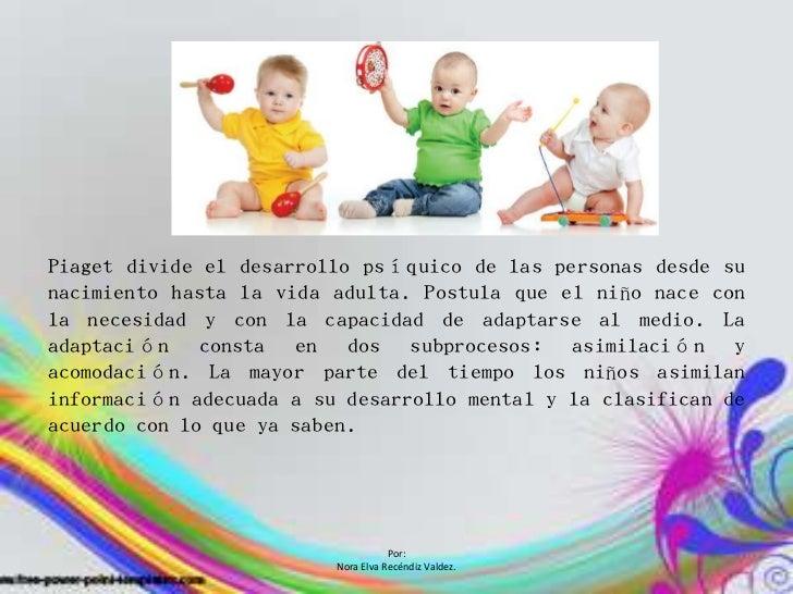 Piaget divide el desarrollo psíquico de las personas desde sunacimiento hasta la vida adulta. Postula que el niño nace con...