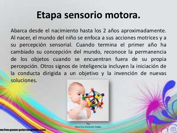 Etapa sensorio motora.Abarca desde el nacimiento hasta los 2 años aproximadamente.Al nacer, el mundo del niño se enfoca a ...