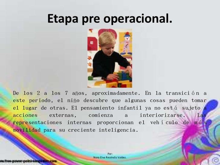 Etapa pre operacional.De los 2 a los 7 años, aproximadamente. En la transición aeste periodo, el niño descubre que algunas...