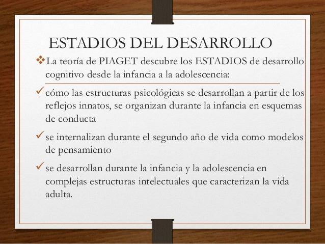 ESTADIOS DEL DESARROLLO La teoría de PIAGET descubre los ESTADIOS de desarrollo cognitivo desde la infancia a la adolesce...