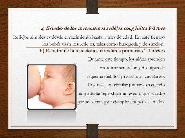 a) Estadio de los mecanismos reflejos congénitos 0-1 mes Reflejos simples es desde el nacimiento hasta 1 mes de edad. En e...