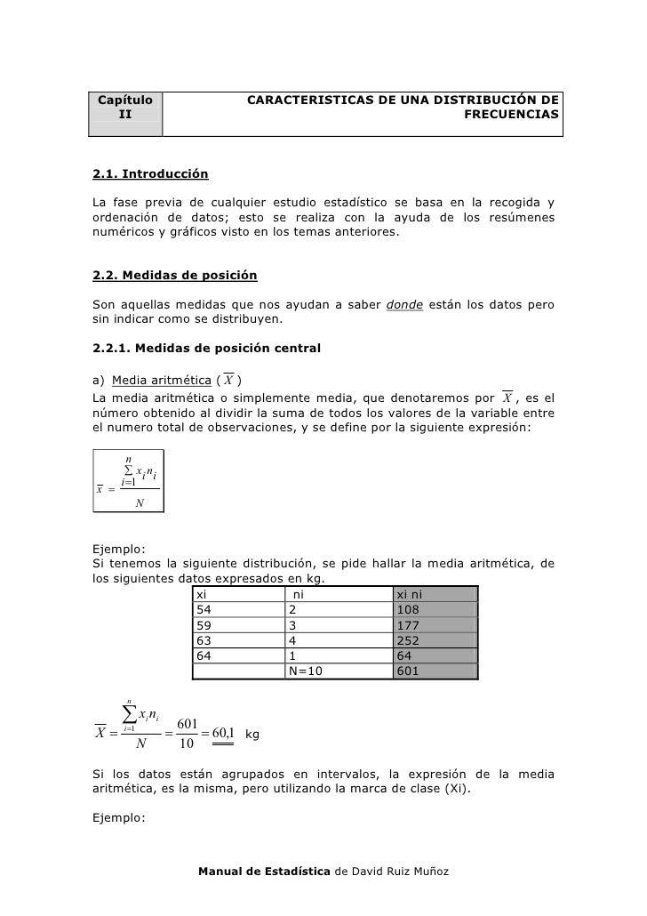 Capítulo                             CARACTERISTICAS DE UNA DISTRIBUCIÓN DE    II                                         ...
