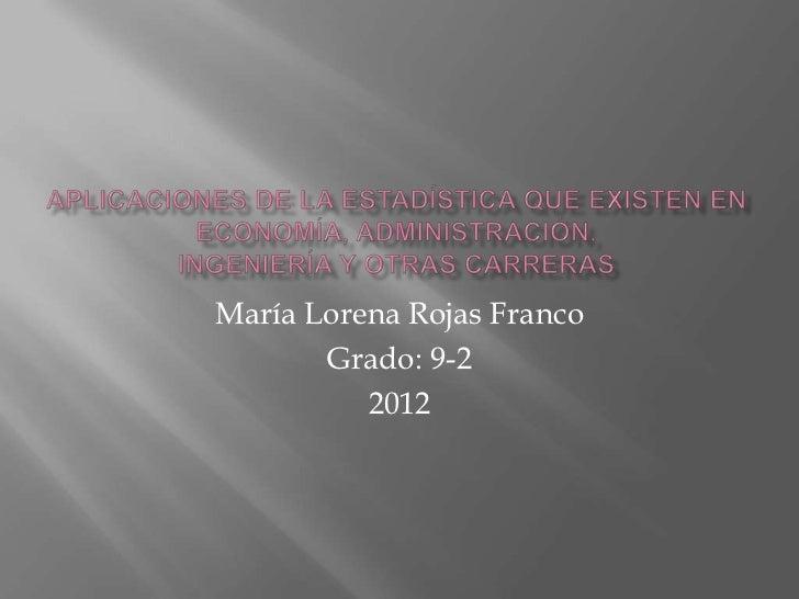 María Lorena Rojas Franco       Grado: 9-2          2012