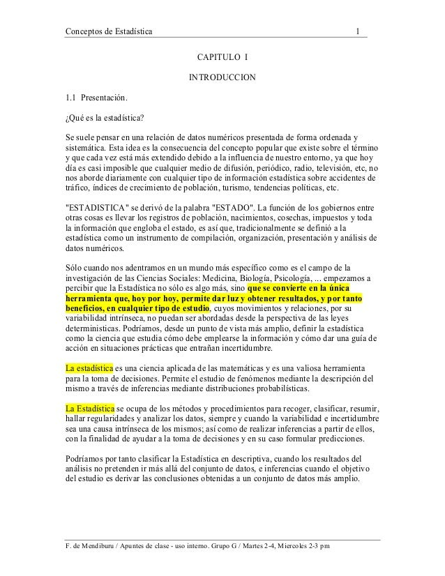Conceptos de Estadística 1 F. de Mendiburu / Apuntes de clase - uso interno. Grupo G / Martes 2-4, Miercoles 2-3 pm CAPITU...