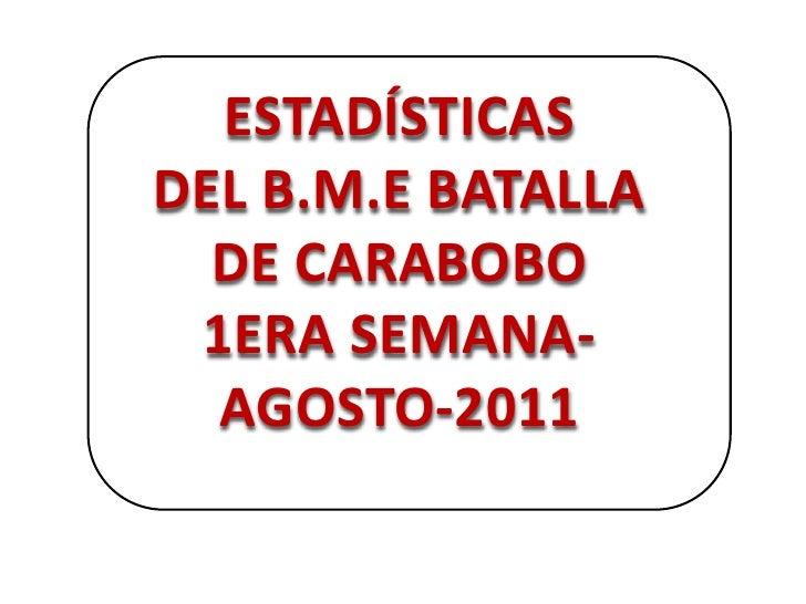 ESTADÍSTICAS<br />DEL B.M.E BATALLA DE CARABOBO <br />1ERA SEMANA-AGOSTO-2011<br />