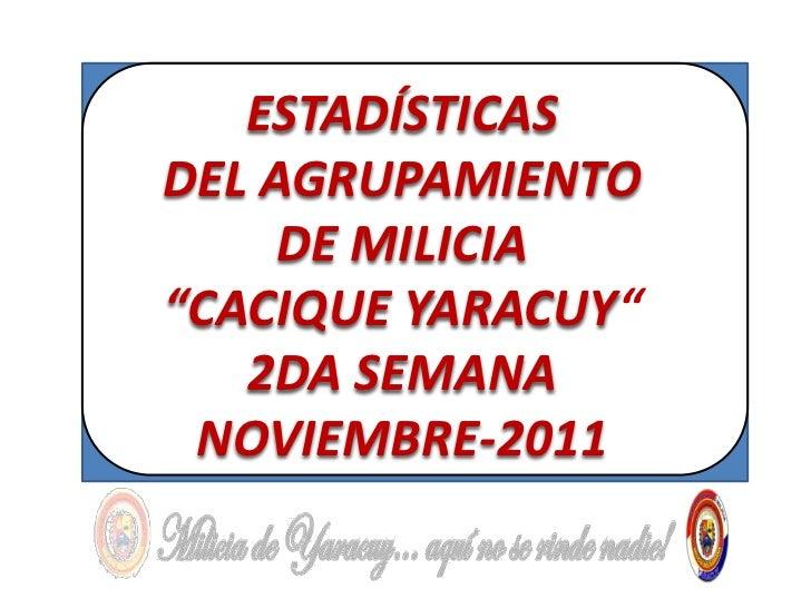 """ESTADÍSTICASDEL AGRUPAMIENTO     DE MILICIA""""CACIQUE YARACUY""""   2DA SEMANA NOVIEMBRE-2011"""