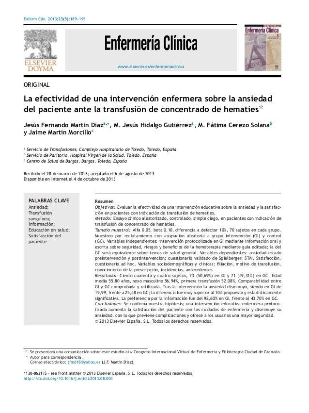 Enferm Clin. 2013;23(5):189---195 www.elsevier.es/enfermeriaclinica ORIGINAL La efectividad de una intervención enfermera ...