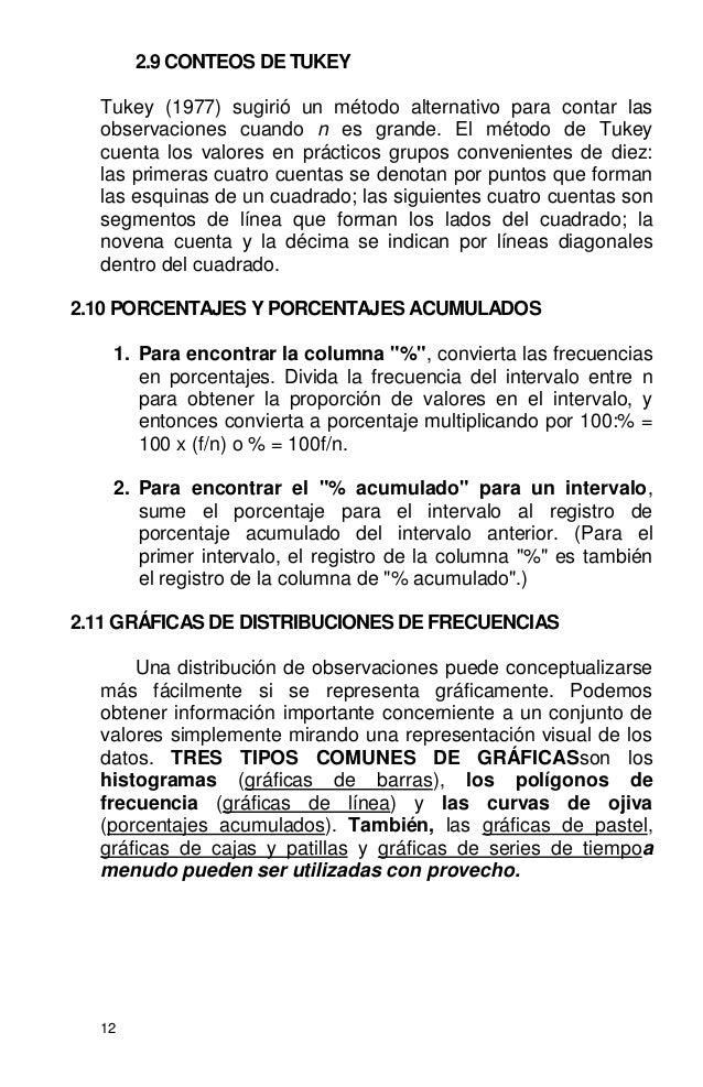 12 2.9 CONTEOS DE TUKEY Tukey (1977) sugirió un método alternativo para contar las observaciones cuando n es grande. El mé...