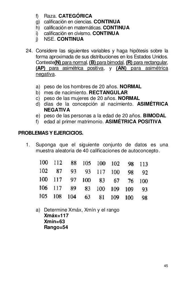 45 f) Raza. CATEGÓRICA g) calificación en ciencias. CONTINUA h) calificación en matemáticas. CONTINUA i) calificación en c...