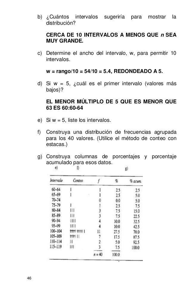 46 b) ¿Cuántos intervalos sugeriría para mostrar la distribución? CERCA DE 10 INTERVALOS A MENOS QUE n SEA MUY GRANDE. c) ...
