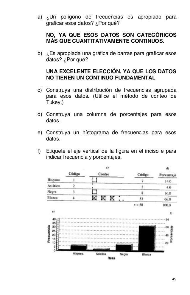 49 a) ¿Un polígono de frecuencias es apropiado para graficar esos datos? ¿Por qué? NO, YA QUE ESOS DATOS SON CATEGÓRICOS M...