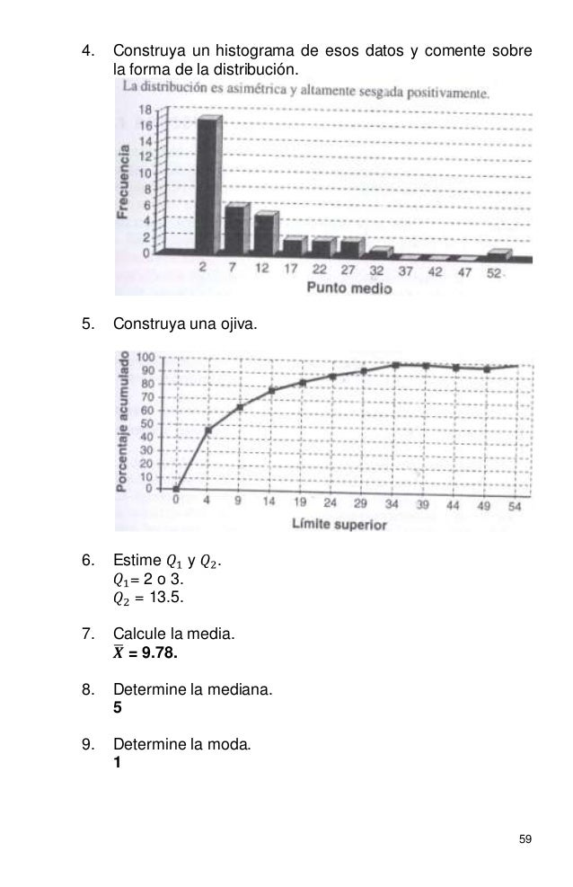59 4. Construya un histograma de esos datos y comente sobre la forma de la distribución. 5. Construya una ojiva. 6. Estime...