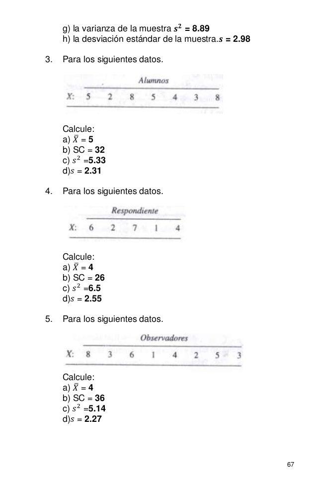 67 g) la varianza de la muestra = 8.89 h) la desviación estándar de la muestra. = 2.98 3. Para los siguientes datos. Calcu...