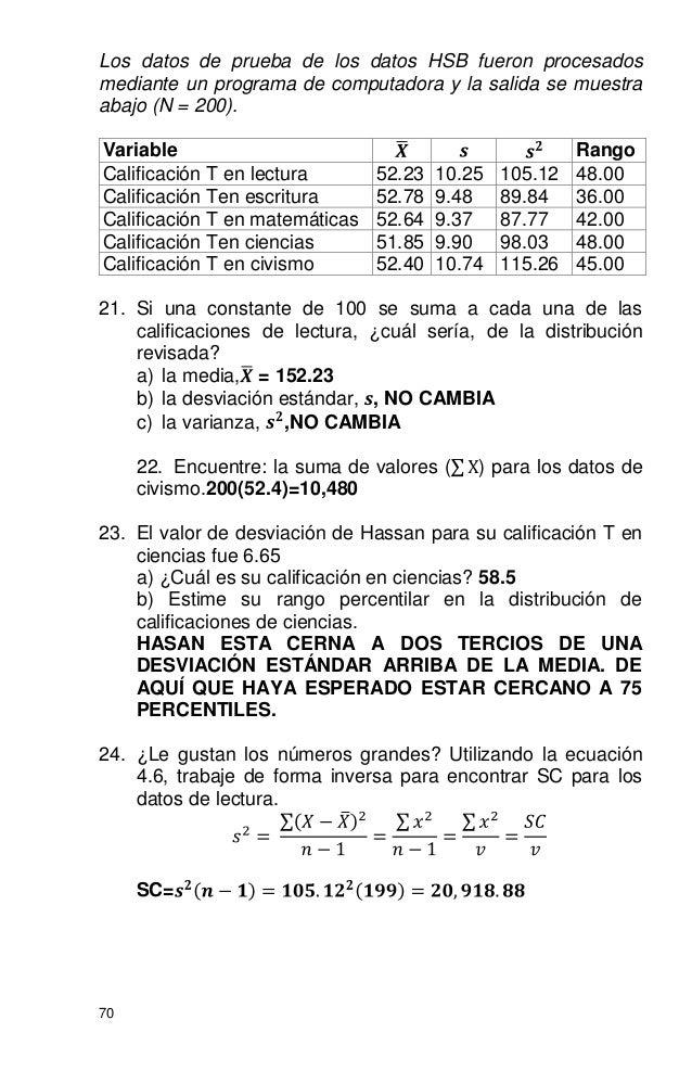 70 Los datos de prueba de los datos HSB fueron procesados mediante un programa de computadora y la salida se muestra abajo...