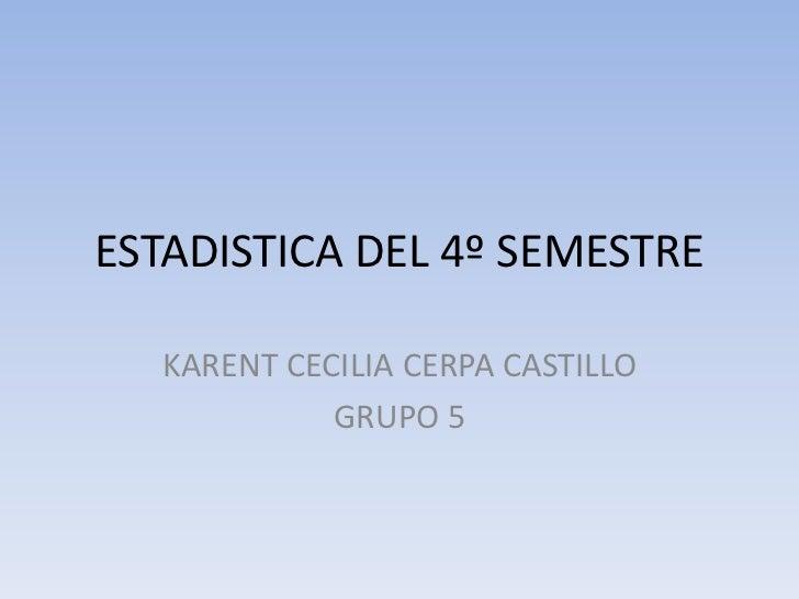 ESTADISTICA DEL 4º SEMESTRE<br />KARENT CECILIA CERPA CASTILLO<br />GRUPO 5<br />