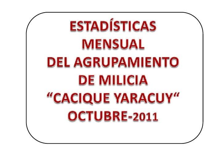 """ESTADÍSTICA MENSUAL DEL AGRUPAMIENTO DE MILICIA       """"CACIQUE YARACUY"""" """"OFICINA ATENCIÓN AL MILICIANO (DONACIONES) OCTUBR..."""
