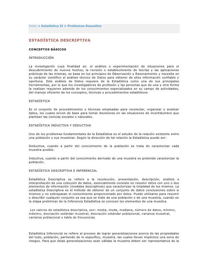 """HYPERLINK """"http://sitios.ingenieria-usac.edu.gt/estadistica/index.html"""" Inicio > Estadística II > Problemas Resueltos <br..."""