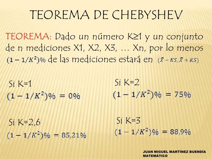 TEOREMA DE CHEBYSHEVTEOREMA: Dado un número K≥1 y un conjuntode n mediciones X1, X2, X3, … Xn, por lo menos          de la...