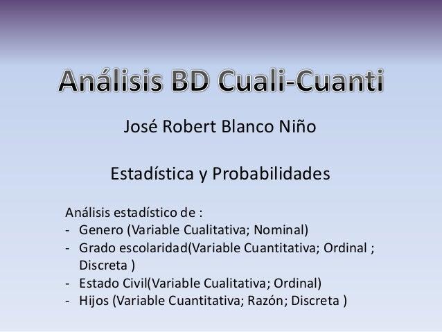 José Robert Blanco Niño Estadística y Probabilidades Análisis estadístico de : - Genero (Variable Cualitativa; Nominal) - ...