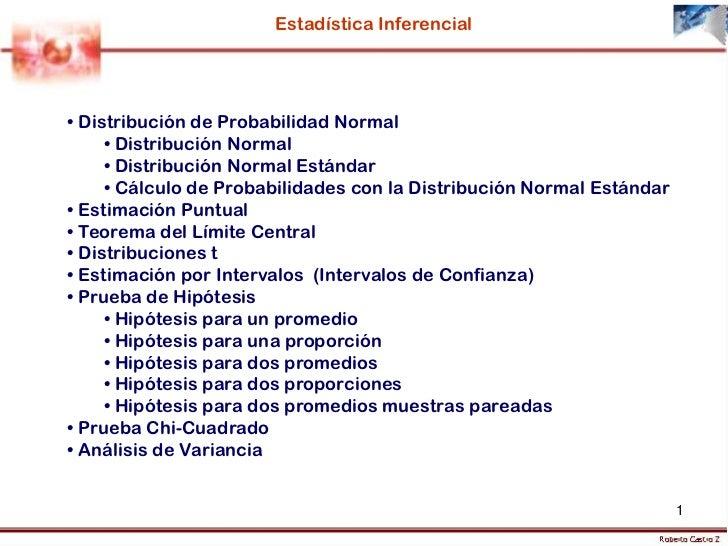 Estadística Inferencial• Distribución de Probabilidad Normal     • Distribución Normal     • Distribución Normal Estándar ...