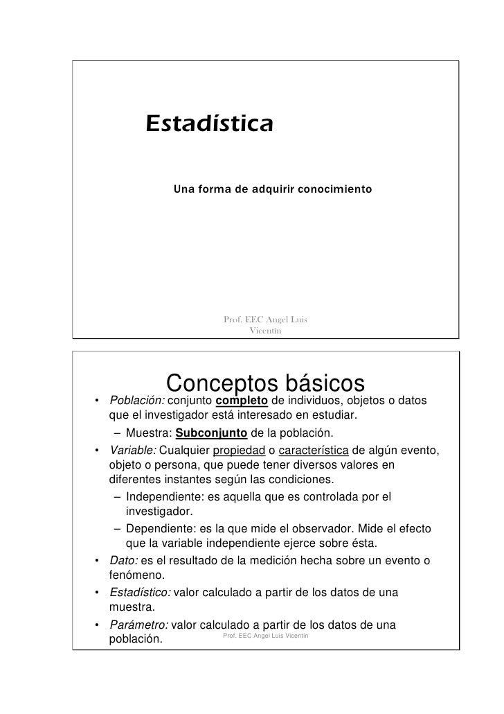 Estadística                Una forma de adquirir conocimiento                             Prof. EEC Angel Luis            ...