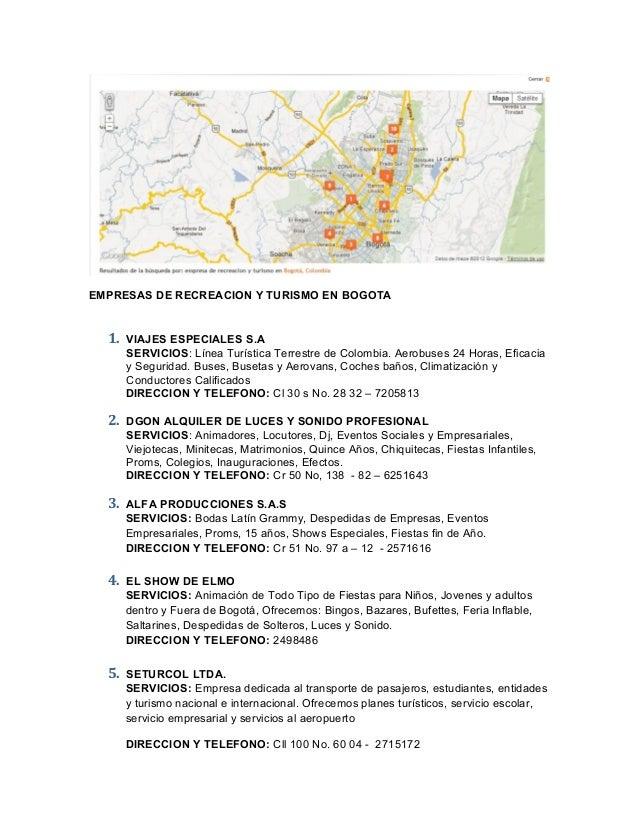 Estadisticas empresas de recreacion y turismo en bogota for Empresas de jardineria bogota