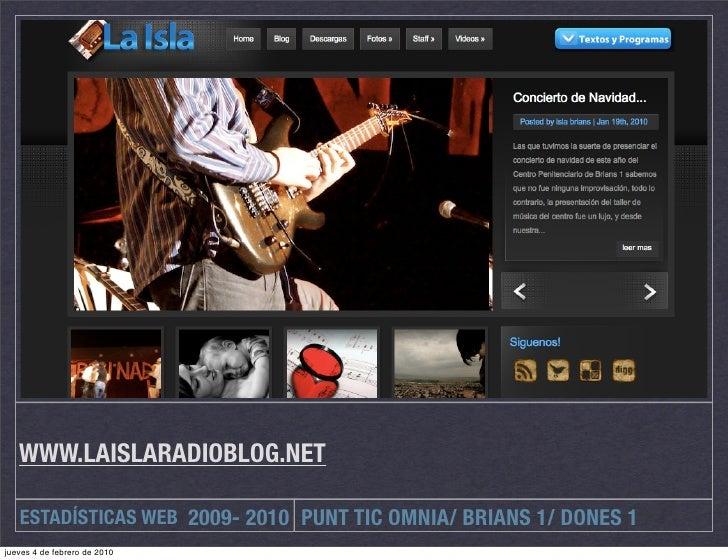 WWW.LAISLARADIOBLOG.NET     ESTADÍSTICAS WEB 2009- 2010 PUNT TIC OMNIA/ BRIANS 1/ DONES 1 jueves 4 de febrero de 2010