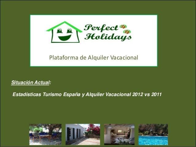 Plataforma de Alquiler VacacionalSituación Actual:Estadísticas Turismo España y Alquiler Vacacional 2012 vs 2011