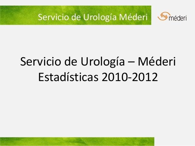 Servicio de Urología MéderiServicio de Urología – Méderi   Estadísticas 2010-2012