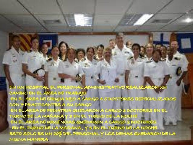 EN UN HOSPITAL EL PERSONAL ADMINISTRATIVO REALIZARON UN CAMBIO EN EL AREA DE TRABAJO •EN EL AREA DE CIRUJIA DEJO A CARGO A...