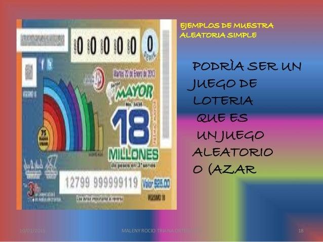 PODRÌA SER UN JUEGO DE LOTERIA QUE ES UN JUEGO ALEATORIO O (AZAR EJEMPLOS DE MUESTRA ALEATORIA SIMPLE 10/01/2015 MALENY RO...
