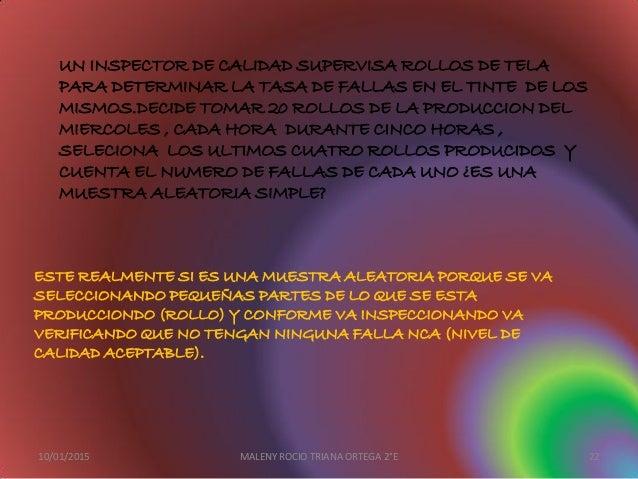 UN INSPECTOR DE CALIDAD SUPERVISA ROLLOS DE TELA PARA DETERMINAR LA TASA DE FALLAS EN EL TINTE DE LOS MISMOS.DECIDE TOMAR ...