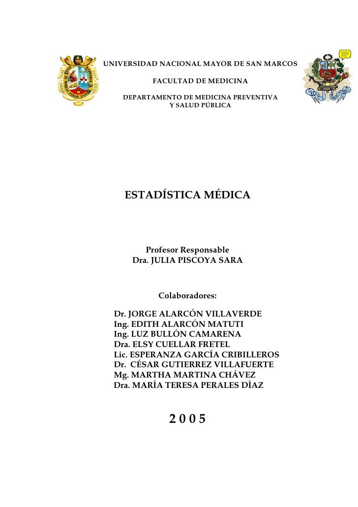 UNIVERSIDAD NACIONAL MAYOR DE SAN MARCOS            FACULTAD DE MEDICINA      DEPARTAMENTO DE MEDICINA PREVENTIVA         ...