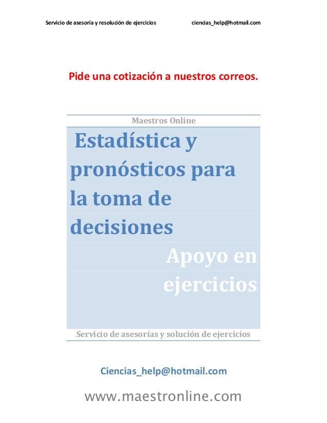 Estadistica y pronosticos para la toma de decisiones