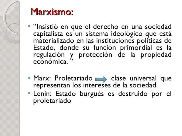"""Marxismo: <ul><li>"""" Insistió en que el derecho en una sociedad capitalista es un sistema ideológico que está materializado..."""