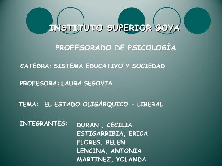 INSTITUTO SUPERIOR GOYA PROFESORADO DE PSICOLOGÍA CATEDRA:   SISTEMA EDUCATIVO Y SOCIEDAD PROFESORA:   LAURA   SEGOVIA TEM...