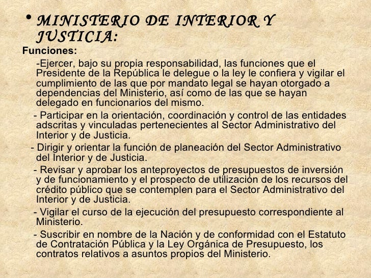 Estado colombiano for Funciones del ministerio del interior