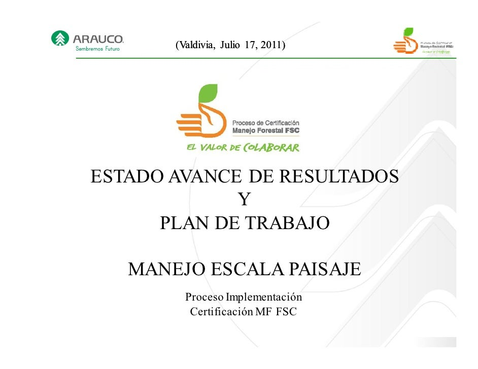 (Valdivia, Julio 17, 2011)ESTADO AVANCE DE RESULTADOS             Y      PLAN DE TRABAJO   MANEJO ESCALA PAISAJE         P...
