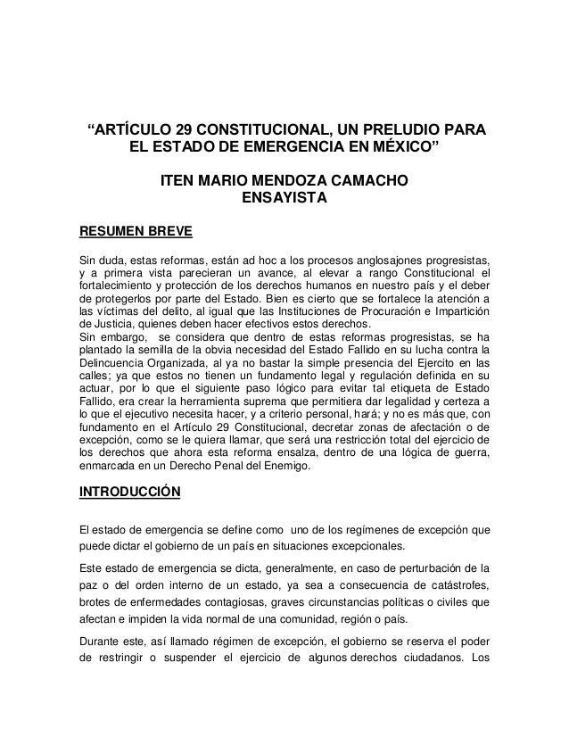 """""""ARTÍCULO 29 CONSTITUCIONAL, UN PRELUDIO PARA EL ESTADO DE EMERGENCIA EN MÉXICO"""" ITEN MARIO MENDOZA CAMACHO ENSAYISTA RESU..."""