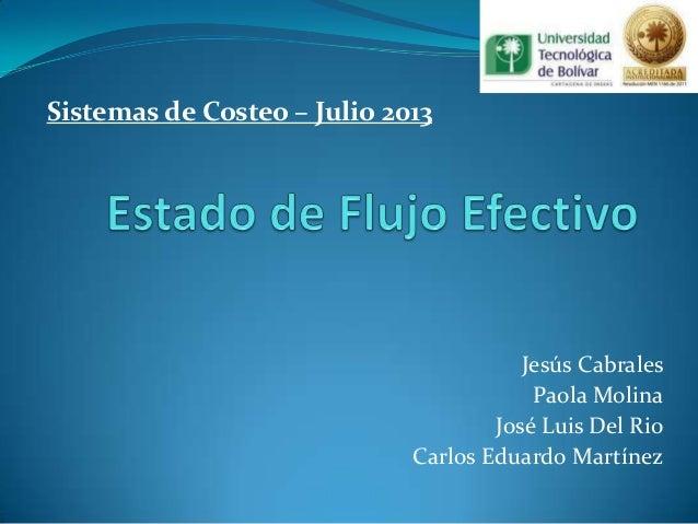 Sistemas de Costeo – Julio 2013  Jesús Cabrales Paola Molina José Luis Del Rio Carlos Eduardo Martínez