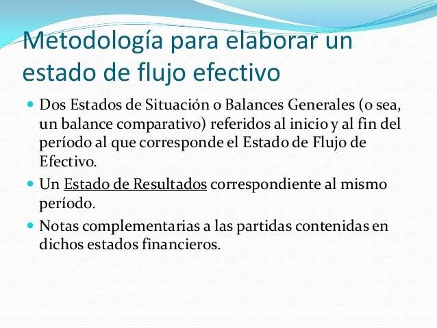 Metodología para elaborar un estado de flujo efectivo  Dos Estados de Situación o Balances Generales (o sea,  un balance ...