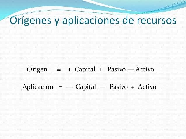 Orígenes y aplicaciones de recursos  Origen  = + Capital + Pasivo — Activo  Aplicación = — Capital — Pasivo + Activo
