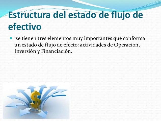 Estructura del estado de flujo de efectivo  se tienen tres elementos muy importantes que conforma  un estado de flujo de ...