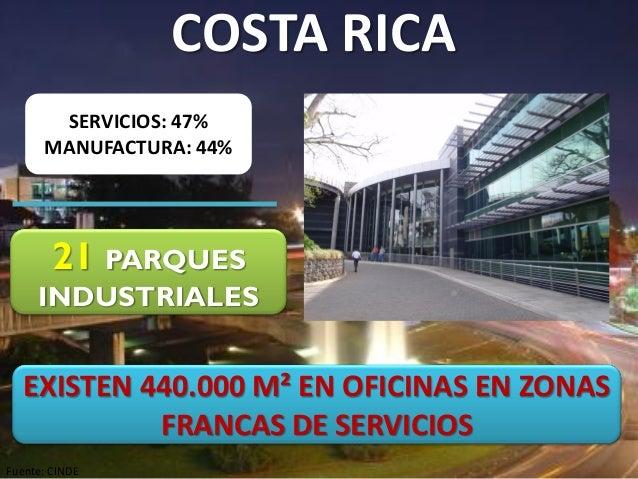 SERVICIOS: 47% MANUFACTURA: 44% 21 PARQUES INDUSTRIALES Fuente: CINDE COSTA RICA EXISTEN 440.000 M² EN OFICINAS EN ZONAS F...