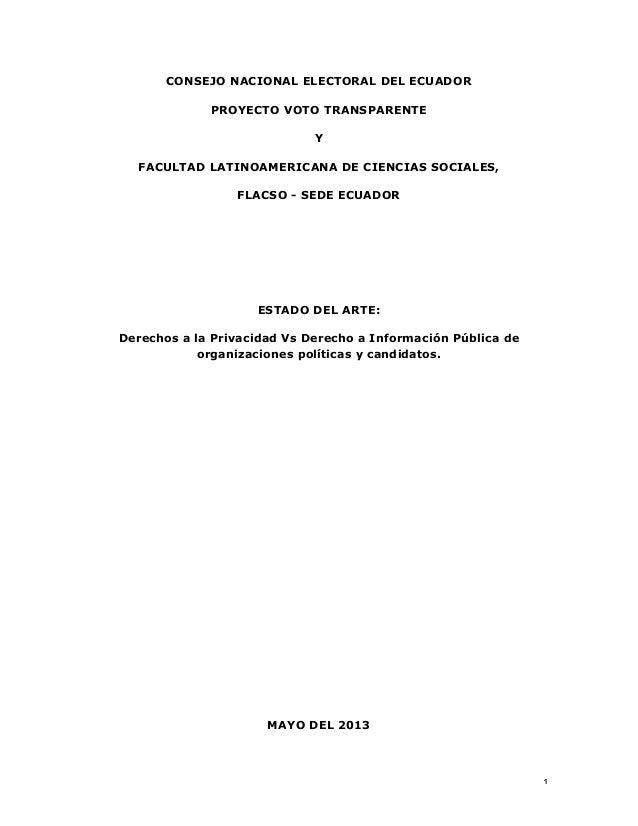 1   CONSEJO NACIONAL ELECTORAL DEL ECUADOR PROYECTO VOTO TRANSPARENTE Y FACULTAD LATINOAMERICANA DE CIENCIAS SOCIALES,...