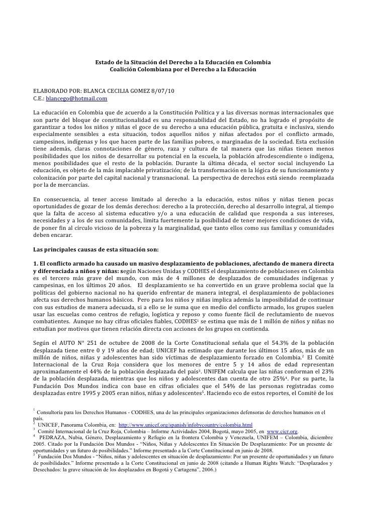 Estado de la Situación del Derecho a la Educación en Colombia                               Coalición Colombiana por el De...