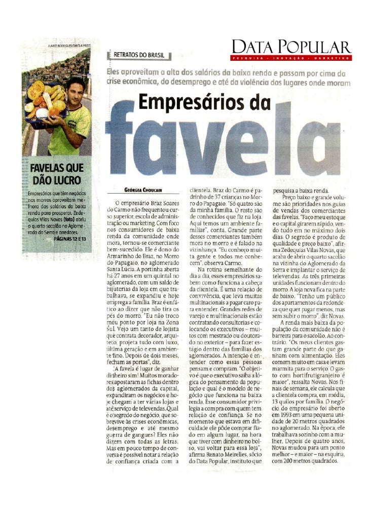 Estado de Minas / Empresários da favela / 17 01 2010