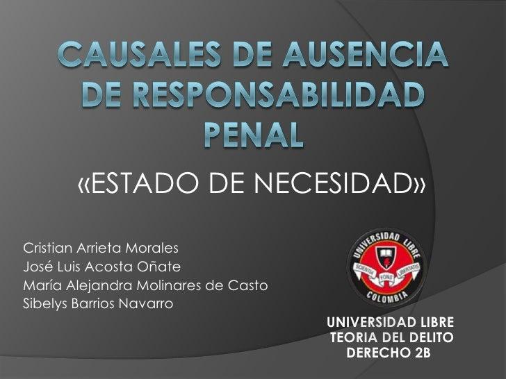 CAUSALES DE AUSENCIA DE RESPONSABILIDAD PENAL<br />«ESTADO DE NECESIDAD»<br />Cristian Arrieta Morales<br />José Luis Acos...