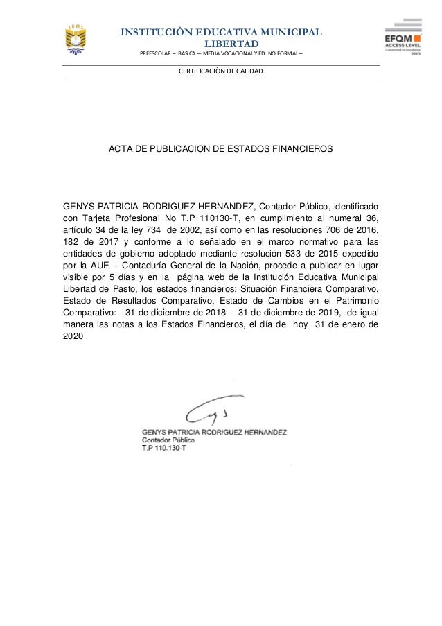 INSTITUCIÓN EDUCATIVA MUNICIPAL LIBERTAD PREESCOLAR – BASICA –- MEDIA VOCACIONAL Y ED. NO FORMAL – CERTIFICACIÒN DE CALIDA...